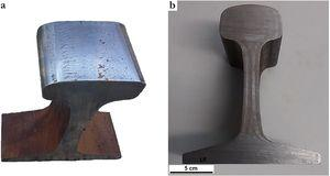 (a) Worn pearlitic rail steel removed from heavy-haul Brazilian railroad and (b) transversal section.