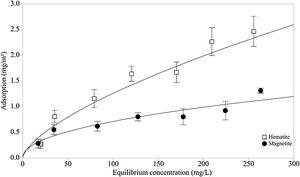 Adsorption isotherm for dextrin adsorption on hematite and magnetite (initial pH 7.0 ± 0.3).