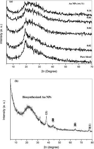 X-ray diffraction pattern for pure blend, blend with differ concentration of Au NPs and the prepared Au NPs.