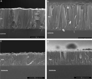 Scanning electron microscopy images of the cross section of films grown for 60min on Si (100). (a) TiO2 grown at 400°C; (b) TiO2 grown at 500°C; (c) N-doped TiO2 at 400°C and (d) N-doped TiO2 grown at 500°C.