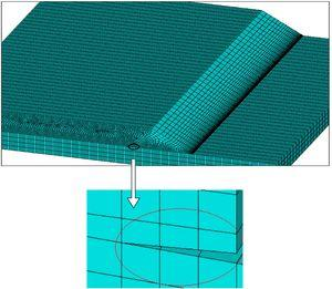 Enlarged view of Finite Element (FE) model for damage skin stiffener.