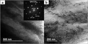 TEM analysis of the Ti-15Zr sample: (a) general view and (b) inward view of the α' phase lamella (BF image+SAED pattern).