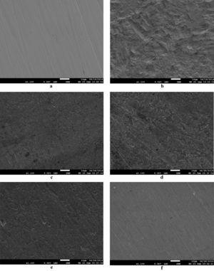 SEM micrographs of CS surface: (a) just after being polished, (b) after 6h immersion in 2M H3PO4 and after 6h of immersion in 2M H3PO4 containing 10−3M of (c) BIMQ, (d) MBMQ, (e) CBMQ and (f) DCBMQ.