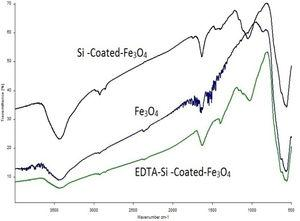 FT-IR spectra of (a) bare magnetite nanoparticles; (b) silica-coated-magnetite and (c) EDTA-Si-coated-magnetite.