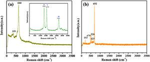 Raman scattering spectra of (a) MnO2@NGO (inset: pure NGO spectrum) and (b) MnO2@NGO/PPy hybrid composites.