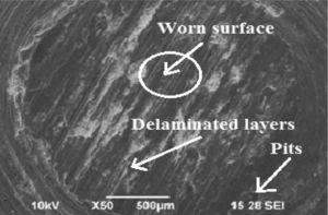 SEM micrographs of worn surface of LM25/ZrO2 composites.