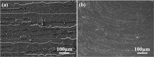 SEM micrographs of (a) spray formed 7055 Al alloy under T6 and (b) T74 aging treatments.