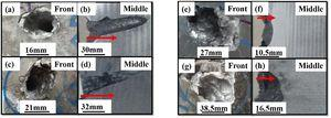 (a, b) 7055 Al alloy impacted with API steel core projectile at T6 and (c, d) at T74 heat treatments, (e–f) showing the target material impacted with soft steel core projectile at T6 and (g, h) at T74 heat treatment conditions.
