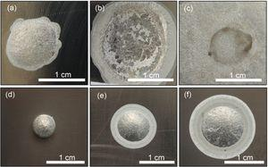 Macro-morphologies after isothermal wetting at different temperatures, (a)-(c) 6061Al/Ti and (d)-(f) 4043Al/Ti at 873K, 923K and 973K, respectively.