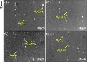 SEM images of the distribution of second phases in samples (a) CE420, (b) CE470, (c) EP70, and (d) EP80.