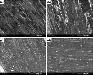 SEM morphologies of wear tracks of four composites at 600 °C: (a) CMC0, (b) CMC1, (c) CMC2 and (d) CMC3.
