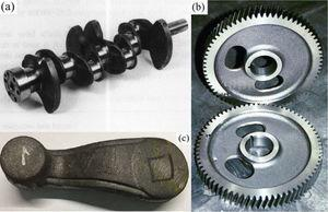 ADI applications (a) ADI crankshaft (Reproduced with Permission of Ref. [14]. Copyright (1997), Taylor & Francis), (b) ADI driving gear (Reproduced with Permission of Ref. [15]. Copyright (2013), Springer Nature) and (c) ADI pitman arm (Reproduced with Permission of Ref. [19]. Copyright (2016), Springer Nature).