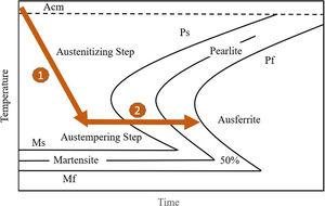 Austenitizing step and austemepering step shown in transformation curve.