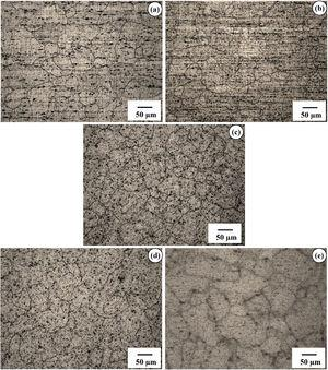 Representative optical microstructures of Al-Mg-Si alloy specimens artificially aged at fixed temperature (TA=175°C) for the durations (tA) of (a) 2h (highly under-aged, HUA), (b) 4h (under-aged, UA), (c) 8h (peak-aged, PA), (d) 72h (over-aged, OA) and (e) 336h (highly over-aged, HOA).