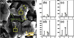 SEM micrograph (a) and EDS analysis (b)–(e) of the pore-concentration region in Fig. 5b.