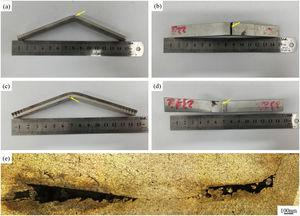 Bending specimens of composite plate after FSP with two passes: (a) aluminum under tensile in side view; (b) aluminum under tensile in top view; (c) aluminum under compression in side view; (d) aluminum under compression in top view; (e) longitudinal section of the bending sample for cracks propagation under bending load.