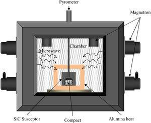 Schematic of the in-house developed experimental setup of rapid microwave sintering process.