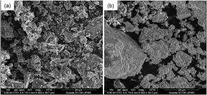 Limestone powder (a) and cement (b) at SEM (scanning electron microscopy).