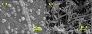 Comparision of SEM of pore Si3N4 at the microwave sintering and non-presses sitning the agglutination (a) microwave sintering; (b) non-presses sintering.