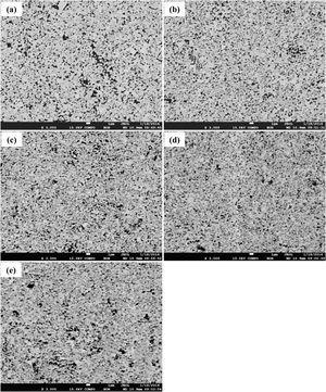 BSE micrographs of the WC–9Ni–xCr3C2 (wt.%) cemented carbides: (a) 0, (b) 0.4, (c) 0.6, (d) 0.75, and (e) 0.9.