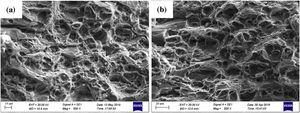 Fracture surfaces of the aged alloy at the peak ageing: (a) T6; (b) T6I6.
