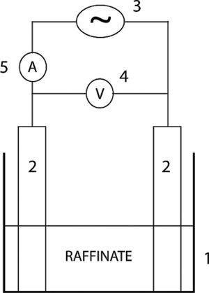 Scheme of the experimental cell. 1: acrylic cell; 2: electrodes; 3: AC power source; 4: voltmeter; 5: ammeter.