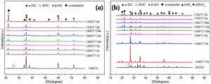 XRD patterns of the SiBCN (a) and SiBCN/HfC (b) ceramic composites after oxidation.