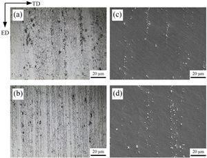 Microstructure of the extruded 7075 Al plate: (a, c) the center area and (b, d) the edge area.