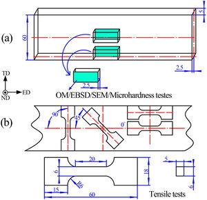 Schematic of the specimens for the (a) microstructure analysis and (b) tensile tests (unit: mm).