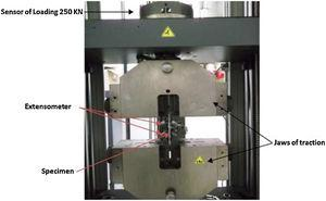 Creep tensile test setup by using Universal Machine of Zwick/Roell type 250kN by Basaid at al. [56].