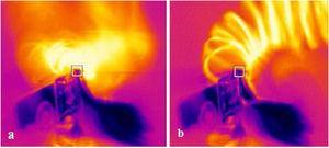 Thermal images of chip flow under different cutting conditions: a) Dry; b) MQL.