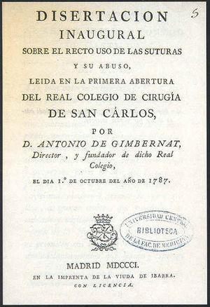 Portada de Disertación inaugural sobre el recto uso de las suturas y su abuso.