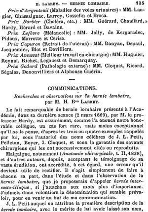 Página inicial de la monografía de Félix-Hippolyte Larrey sobre la hernia lumbar (1869).