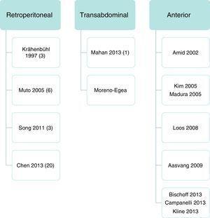Representación de los abordajes descritos en la bibliografía médica. Entre paréntesis se indica el número de casos del autor. La vía anterior es un abordaje abierto, mientras que el retroperitoneal y transabdominal son mediante laparoscopia.