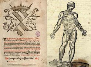 Portada de la obra anatómica de Bernardino Montaña de Monserrate (1551) y lámina primera copiada de Vesalio.
