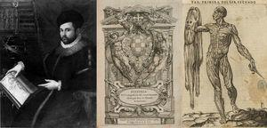 Retrato y obra de Juan Valverde (portada y lámina del hombre desollado).