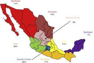 Percentage of physicians evaluated by geographic zone.