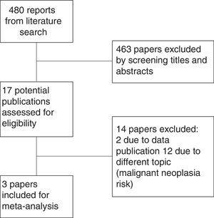 Flow Chart showing the selection process of the studies in the meta-analysis.