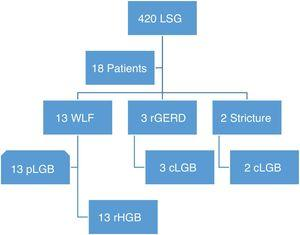 Flowgram of patients converted to gastric bypass due to sleeve failure. cLGB: conversion to laparoscopic gastric bypass; rGERD: refractory gastroesophageal reflux disease; LSG: laparoscopic sleeve gastrectomy; pLGB: primary laparoscopic bypass surgery; rHGB: robotic-assisted hybrid gastric bypass; WLF: weight loss failure.