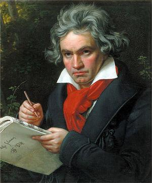 Portrait of Ludwig van Beethoven, working on the composition of the Missa Solemnis in D major, Op. 123, painted by Joseph Karl Stieler in 1820.