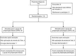 Fluxograma de acordo com as diretrizes Consort da randomização e estudo dos participantes.