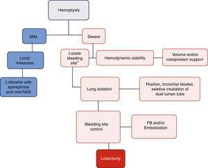 Algorithm proposed for the management of massive hemoptysis during fibrobronchoscopy. *With rigid fibrobronchoscope (FB) if proximal bleeding is suspected or flexible FB if the bleeding is distal. NSS: normal saline solution. Mild hemoptysis: no hemodynamic involvement and self-limiting bleeding. Severe hemoptysis: causes hemodynamic instability, requires transfusion, or results in hypoxemic respiratory failure.