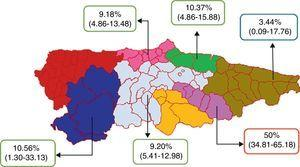 Prevalence of ankyloglossia in the different health districts of the Principality of Asturias. Prevalences expressed as percentages and 95% confidence intervals in parentheses.