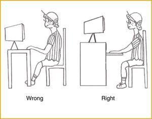 Illustration of back posture at the computer included in the JBS handout.