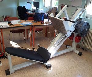 Incline leg press used for strength assessment.