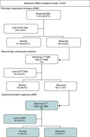 Summary flowchart. **Abnormal auditory brainstem responses in 0.31% of the total of screened newborns.