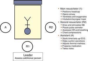 Assignment of roles in neonatal resuscitation.