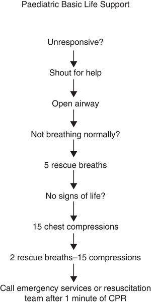 Steps in paediatric basic life support.