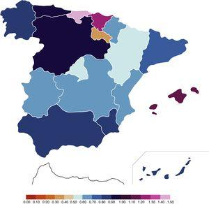 Incidence of NBs with moderate-to-severe HIE in the 2012–2013 period. Data expressed as number of moderate-to-severe HIE diagnoses/total live births×1000. We do not have data for 2012 for Cantabria, so the incidence reported for Cantabria corresponds to 2013.