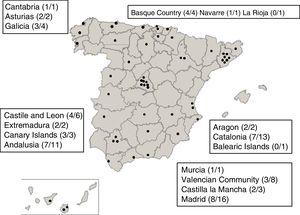 Location of the neonatal intensive care units (NICUs) participating in the NeoKissEs surveillance system in Spain.